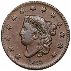 1833 Coronet Head Large Cent, N-1, R2, VF35.