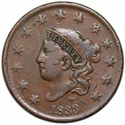1833 Coronet Head Large Cent, N-2, R2, VF20.