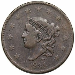 1834 Coronet Head Large Cent, Large 8, Large Stars, Medium Letters, N-5, R4, VF20.