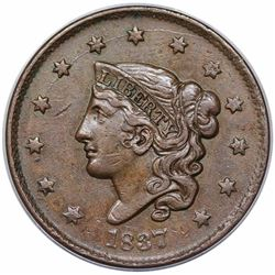 1837 Coronet Head Large Cent, N-4, R2, ANACS AU50.