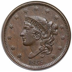 1838 Coronet Head Large Cent, N-5, R1, ANACS EF40.