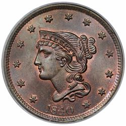 1840 Braided Hair Large Cent, Large Date, N-8, R1, PCGS MS64RB.