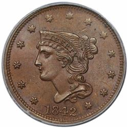 1842 Braided Hair Large Cent, Large Date, N-5, R3, PCGS MS64BN.
