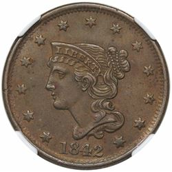 1842 Braided Hair Large Cent, Large Date, N-6, R1, NGC AU53, ex Newman