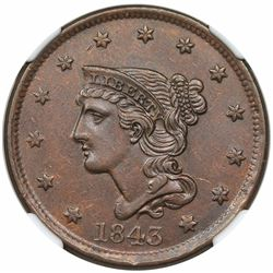 1843 Braided Hair Large Cent, Petite Head, Small Letters, N-3, R3, NGC AU55