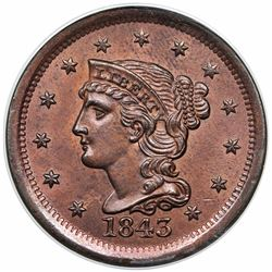 1843 Braided Hair Large Cent, Mature Head, N-5, R1, ANACS MS60 details, cleaned.