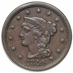 1844 Braided Hair Large Cent, N-5, R1, ANACS EF45.