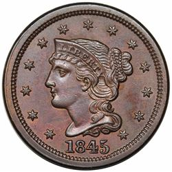 1845 Braided Hair Large Cent, N-9, R2, AU58.