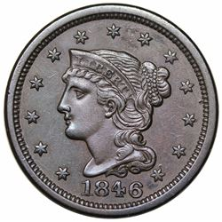 1846 Braided Hair Large Cent, Small Date, N-1, R1, AU55.