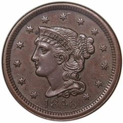1846 Braided Hair Large Cent, Small Date, N-9, R2, NGC MS62BN.