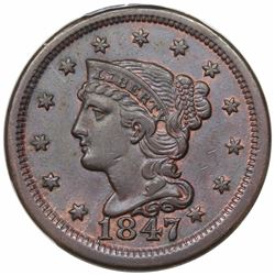 1847 Braided Hair Large Cent, N-22, R2, PCGS XF45.