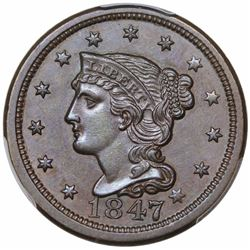 1847 Braided Hair Large Cent, N-28, R4, PCGS MS61BN.