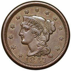1847 Braided Hair Large Cent, N-38, R1, LDS (old N-16), AU50.