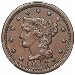 1847 Braided Hair Large Cent, N-41, R4, PCGS XF45.
