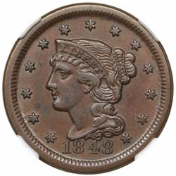1848 Braided Hair Large Cent, N-3, R2, NGC AU53.