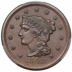 1848 Braided Hair Large Cent, N-29, R3, PCGS MS62BN CAC.