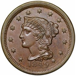 1849 Braided Hair Large Cent, N-2, R2, AU58.