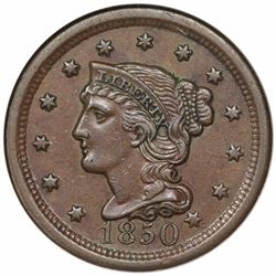 1850 Braided Hair Large Cent, N-1, R2, NGC AU58, ex Reiver.