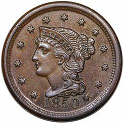 1850 Braided Hair Large Cent, N-3, R1, AU58.