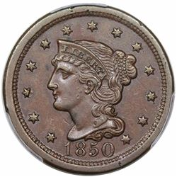1850 Braided Hair Large Cent, N-13, R4, PCGS AU55, ex Twin Leaf.