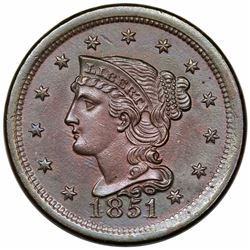 1851 Braided Hair Large Cent, N-6, R1, MS62BN.