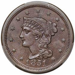 1851 Braided Hair Large Cent, N-14, R2, PCGS MS62BN.
