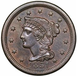 1851 Braided Hair Large Cent, N-18, R1, AU55.