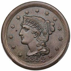 1852 Braided Hair Large Cent, N-3, R1, PCGS MS63BN.