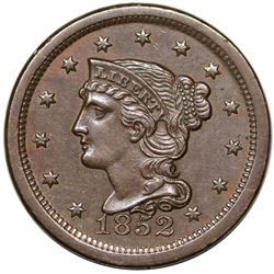 1852 Braided Hair Large Cent, N-6, R2, AU55.