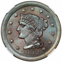 1852 Braided Hair Large Cent, N-8, R2, NGC MS66BN.