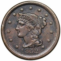 1852 Braided Hair Large Cent, N-10, R2, XF detail, environmental damage.