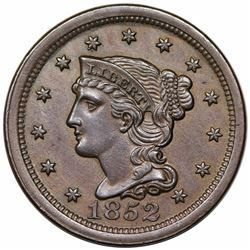 1852 Braided Hair Large Cent, N-14, R1, AU55.