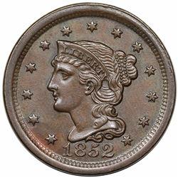 1852 Braided Hair Large Cent, N-20, R3, AU58.