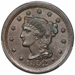 1852 Braided Hair Large Cent, N-22, R1, M-LDS (old N-9), PCGS AU58, ex Iskra.