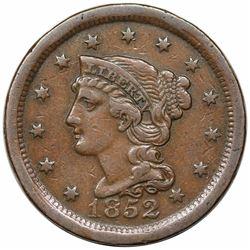 1852 Braided Hair Large Cent, N-23, R5, LDS (b), VF30.