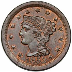 1853 Braided Hair Large Cent, N-3, R1, MS63BN.