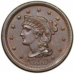 1853 Braided Hair Large Cent, N-16, R1, MS62BN.