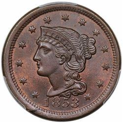 1853 Braided Hair Large Cent, N-25, R1, PCGS MS66BN.