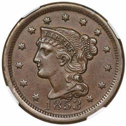1853 Braided Hair Large Cent, N-25, R1, NGC AU58.