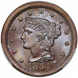 1854 Braided Hair Large Cent, N-8, R1, PCGS MS66BN.