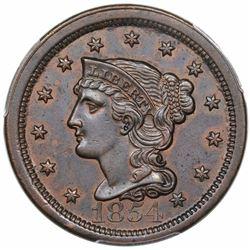 1854 Braided Hair Large Cent, N-8, R1, PCGS AU55.