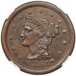 1854 Braided Hair Large Cent, N-1, R3, NGC AU58.