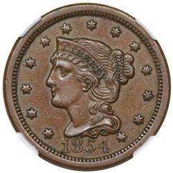 1854 Braided Hair Large Cent, N-20, R3, NGC AU58.