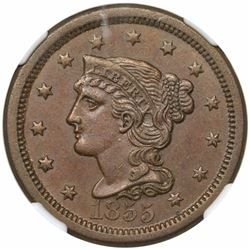 1855 Braided Hair Large Cent, Upright 55, N-4, R1, NGC MS61BN.