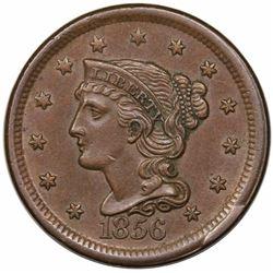 1856 Braided Hair Large Cent, Slanted 5, N-3, R1, LDS (g), AU58.