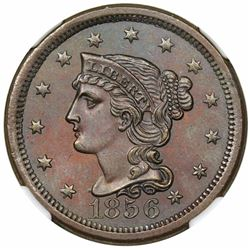 1856 Braided Hair Large Cent, Upright 5, N-6, R1, NGC MS63BN.