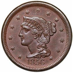 1856 Braided Hair Large Cent, Slanted 5, N-14, R1, MS62BN.