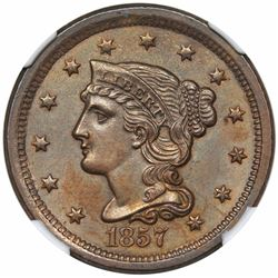 1857 Braided Hair Large Cent, Small Date, N-2, R1, NGC MS64BN.