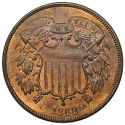 1868 Two Cent Piece, MS62RB.