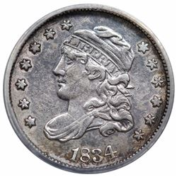 1834 Capped Bust Half Dime, V-4, LM-4, R1, ANACS EF40 details, cleaned.